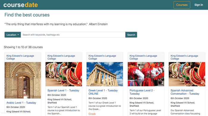 King Edward VII School Language College uses the Coursedate online course booking system